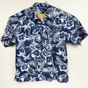 Men's Ocean Pacific OP Aloha Blue Hibiscus Shirt